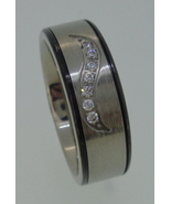 Titatium Ring - brushed center with cubic zirco... - $25.00