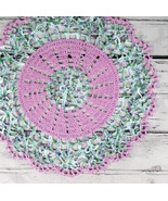 Lovely Crocheted Violet Variegated Green Aqua L... - $20.00
