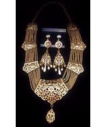 Vintage Turkish Gold Filigree Necklace & Earrin... - $261.25