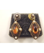 Topaz and Pearl Earrings 1928 Pierced - $14.95