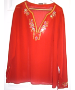 Women's 2X Brick Red Sequin Embellish Indian St... - $34.99