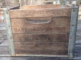 Vintage Harbisons Phila PA Dairy Co Milk Crate Wood Metal Rustic Advertising Box