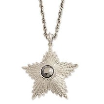 Ladies Hematite Epoxy Stone Star Pendant 32in S... - $35.64