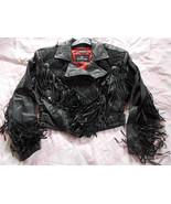 Bermans Black Leather Fringed Motorcycle Jacket... - $69.25