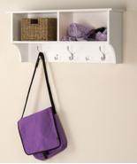 White Wood Entryway Wall Shelf Mudroom Storage ... - $136.95