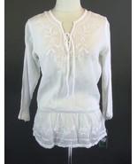 NWT RALPH LAUREN Size XL Gauzy White Embroidere... - $49.00