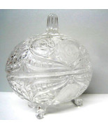 Crystal pressed glass center piece Vintage Glas... - $49.01