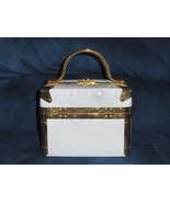 Comeco White Purse Faux Croc Square Treasure Bo... - $34.97