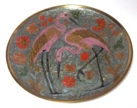 Gorgeous Brass Cloisonne Enamel Pink Flamingo W... - $95.00
