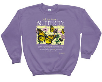 gingertwo s booth    sweatshirt advice from a butterfly purple large