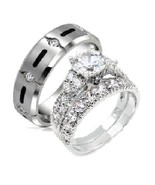 His & Hers 3 Piece Cz Stering Silver and Titani... - $49.99