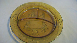 BROWN AMBER DIVIDED CHILDS GLASS PLATE, SEE SAW... - $29.69
