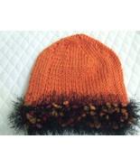 Ladies Handknit Hat Pumpkin Acrylic with Fun fu... - $3.50