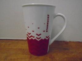 Starbucks Coffee Mug Cup White Red Trim Chevron... - $25.89