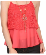 Boho Chic Flirty Coral Lace Cami Tank Top w/ Ne... - $27.99