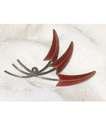 Vintage Norway Sterling Enameled Leaf Pin Brooch - $96.85