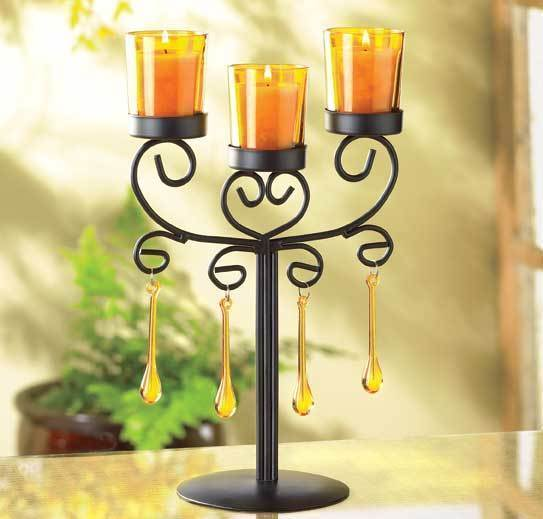 Beaded Amber Candelabra Wrought Iron