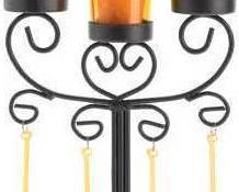 Image 2 of Beaded Amber Candelabra Wrought Iron