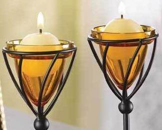 Image 1 of Amber Candleholders Metal W Glass Set Of Two