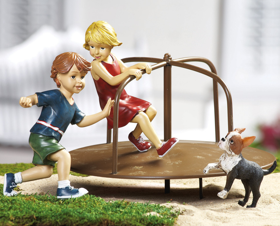 4pc. Merry-go-round Kids Garden Figurines