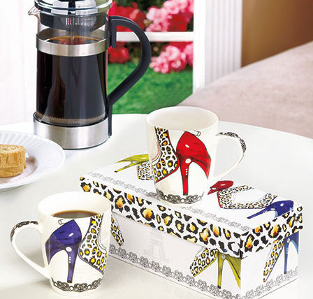 Set of 2 Gift-Boxed Shoe Lover Mugs Compltete W/ Reusable  Box
