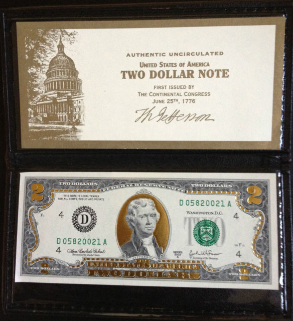 Image 1 of 22K Gold Plated $2 Bill  Uncirculated