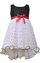 Bonnie Jean Little Girls 2T-6X Black White Sequin and Spangle Mesh Social Dress