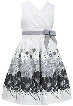 Tween Big Girls Ivory/Black Surplice Floral Border Shantung Social Dress