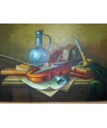 Frank Lean Oil Painting on Canvas Violin Books ... - $349.00