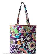 Vera Bradley Plum Crazy Tote Bag Purple Interio... - $59.95