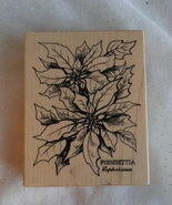 Large Poinsettia Rubber Stamp Christmas Flower ... - $12.99