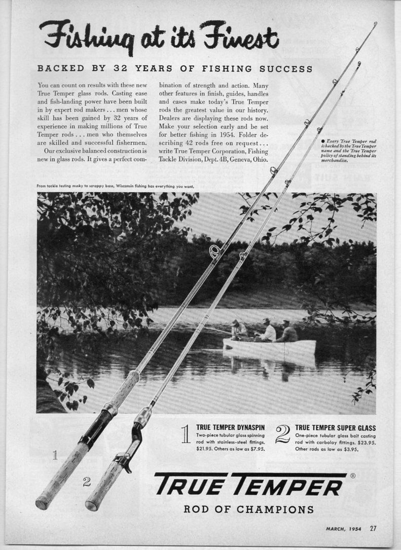 1954 Vintage Ad True Temper Fishing Rods Geneva Ohio Ebay