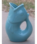 Gurgle Pot Aqua Stoneware Fish Shaped 9.5