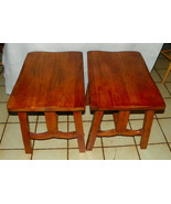 Pair Elm & Oak Ranch Style End Tables / Side Ta... - $499.00