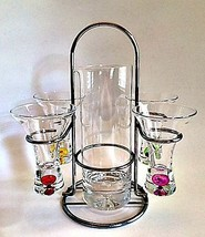Cocktail Martini Bar Set Pitcher 4 Glasses Carr... - $64.33