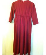 Young Girls Amish Mennonite Handmade Maroon Dress - $14.99