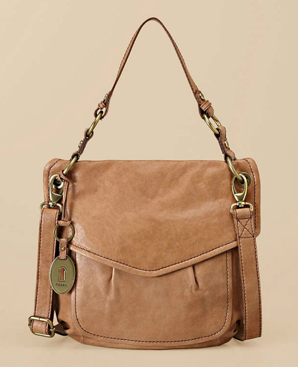 NWT Fossil Modern Cargo Beige (Camel) Leather Convertible Flap Cross-Body Bag