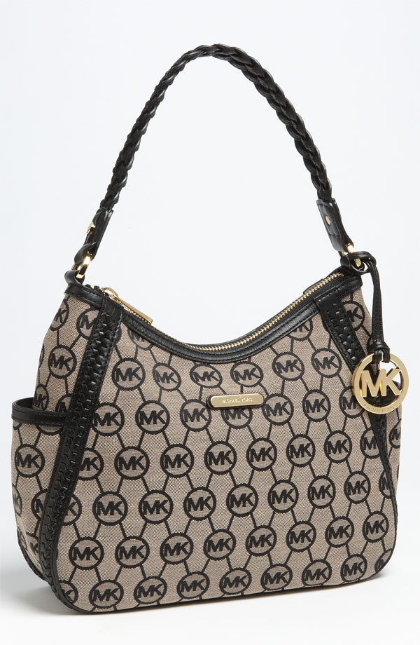 NWT MICHAEL Michael Kors Black Whipped Monogram Hobo Shoulder Bag