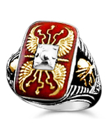 Roman Scutum Mens Legionaire ring sterling silver - $127.71