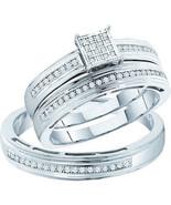 Ladies 0.25CT Real Diamond White Gold Fn Weddin... - $222.74