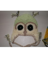 BABY BOY OR GIRL IVORY AND LIGHT GREEN OWL HAT ... - $14.00
