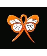 ADHD Awareness Lapel Pin Orange Ribbon Butterfl... - $10.97