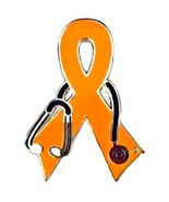 Lupus Awareness Lapel Pin Orange Ribbon Stethos... - $10.97