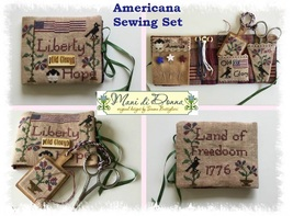 Americana Sewing Set with wooden tag cross stit... - $22.00