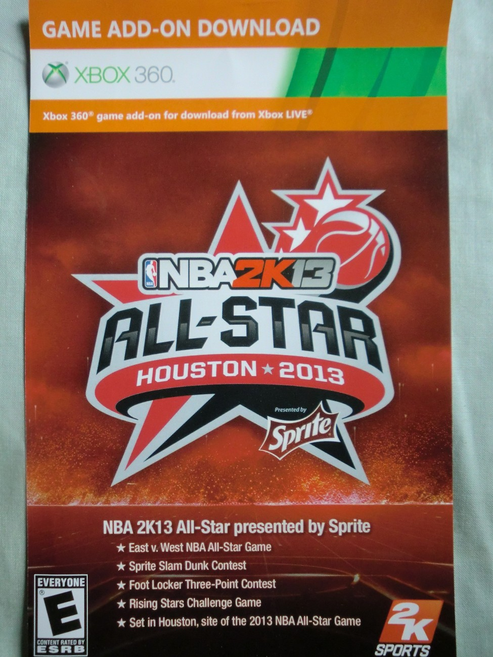 "NBA 2K13: ""All-Star Bonus Houston 2013"" xbox 360 game DLC card code"