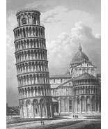 ITALY Pisa Leaning Tower - 1860s Antique Engrav... - $79.20