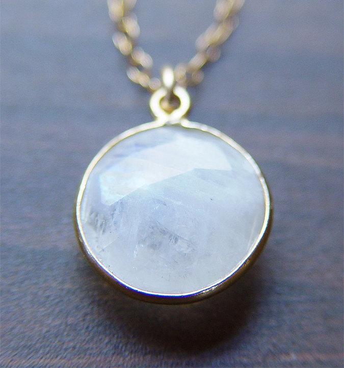 Round Moonstone Gold Necklace - Milky White 14k Pendant
