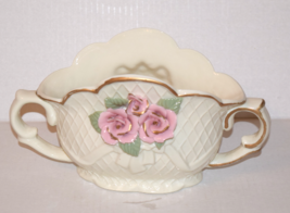 White Floral Ceramic Flower Base with a Pink Ro... - $40.00