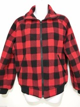 LL Bean Red Black Buffalo Plaid Fleece Jacket W... - $53.90