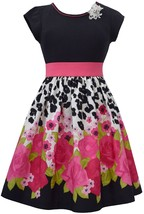 Big Girls Tween 7-16 Fuchsia Black Floral Border Fit Flare Social Party Dress